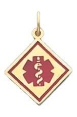 Side Square Medical ID Pendant in 10K, 14K Gold or Silver - 15mm