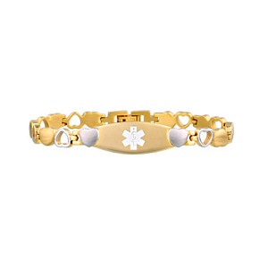 Heart Link Stainless Steel Medical ID Bracelet - Gold Tone