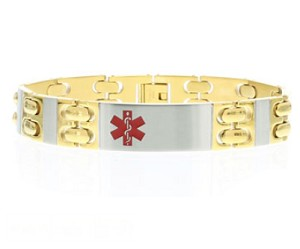 Two Tone Stainless Steel with Gold and Silver Medical ID Bracelet
