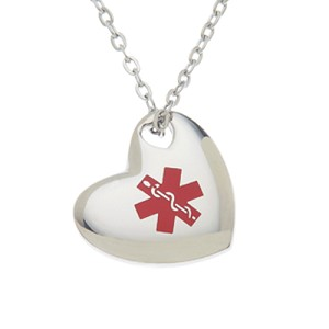 Stainless Steel Medical ID Pendant Necklace - Puffed Heart