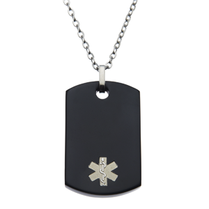 Stainless Steel Medical ID Pendant Necklace - Black Color Tag