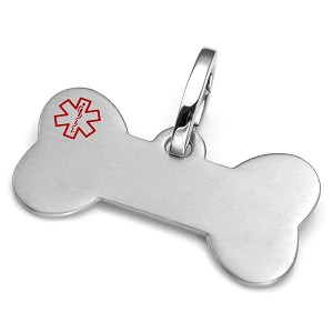 Brushed Bone Pet Medical ID Collar Tag - LARGE
