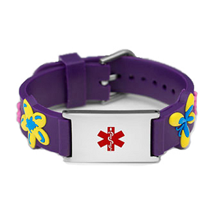 Floral Butterfly Purple Rubber and Stainless Steel Kids Medical ID Bracelet