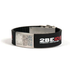 2beid Qr Code Medical Id Bracelet Black Large Width