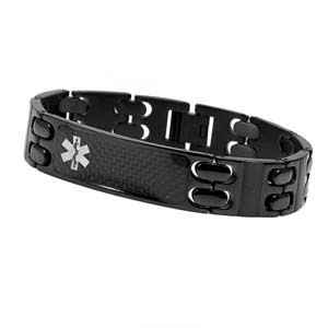 Black Link Stainless Steel Medical ID Bracelet