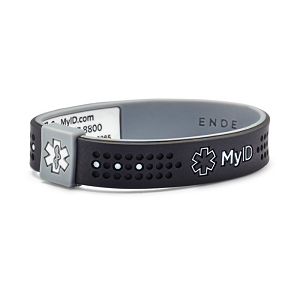 MyID Sport Medical Bracelet - Black and Gray