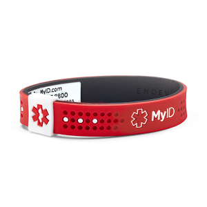 MyID Sport Medical Bracelet - Red and White