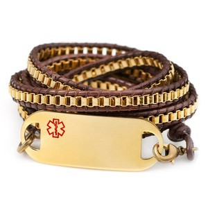 Gold Plate Link Beaded Leather Wrap Medical ID Bracelet