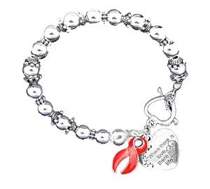 Heart Disease Awareness Silver Ribbon and Heart Charm Bracelet