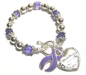 Lupus Awareness Silver Ribbon and Heart Charm Bracelet