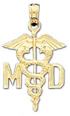 Medical Doctor MD Pendant in 14K Yellow Gold - 15 x 20mm