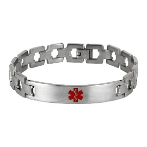 Zig Zag Link Stainless Steel Medical ID Bracelet