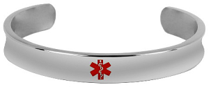 Stainless Steel Cuff Medical ID Bracelet