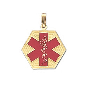 Hexagon Medical ID Pendant in 10K, 14K Gold or Silver - 21mm