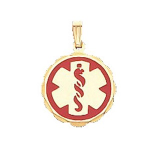 Scalloped Medical ID Pendant in 10K, 14K Gold or Silver - 20mm