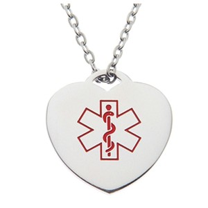 Stainless Steel Medical ID Pendant Necklace - Heart