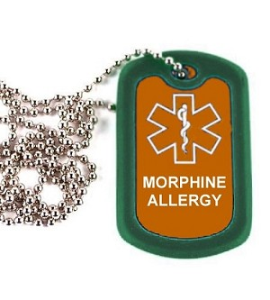 Morphine Allergy Medical Alert Dog Tag Necklace or Keychain ID