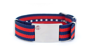 Nato Medical ID Bracelet - Red Blue Stripe