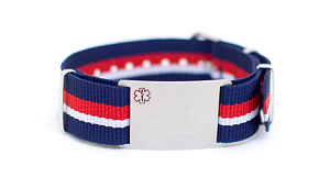 Nato Medical ID Bracelet - Red Blue White Stripe