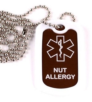 Nut Allergy Medical Alert Dog Tag Necklace or Keychain ID