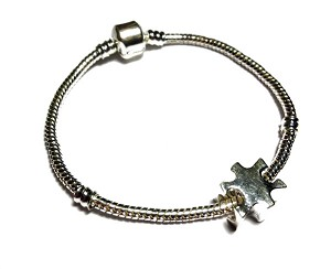 Autism Awareness Silver Puzzle Piece Dangling Charm Bracelet