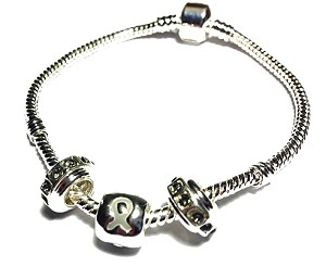 Diabetes Awareness Silver Dangling Charms Bracelet
