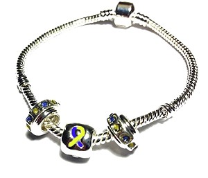 Down Syndrome Awareness Silver Dangling Charms Bracelet