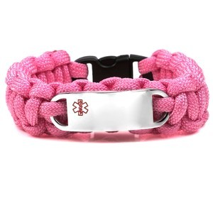 Paracord Medical ID Bracelet for Small Wrists - PINK with Steel Tag