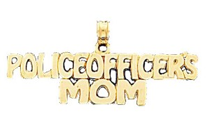 Police Officer's Mom Pendant in 14K Yellow Gold