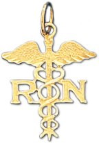 Registered Nurse RN Pendant in 14K Yellow Gold - 15 x 20mm