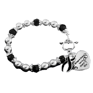 Sleep Apnea Awareness Silver Ribbon and Heart Charm Bracelet