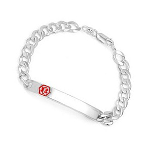 Sterling Silver Thin Curb Link Medical ID Bracelet