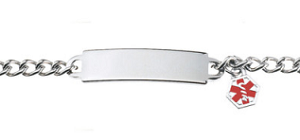 Stainless Steel Medical ID 6 Inch Bracelet with Charm