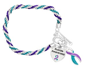 Suicide Prevention Awareness Silver Ribbon Teal and Purple Rope Charm Bracelet