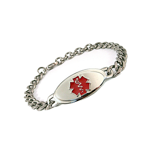 Titanium Curb Chain Medical ID Bracelet - Small Red