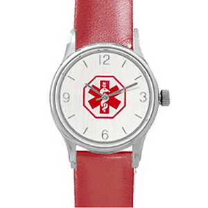 Women S Medical Id Watch With Red Leather Band