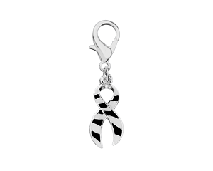 Medical Awareness Silver Ribbon Clip On Charm - Zebra Print